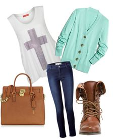 Colored cardigan to neutrals. Love the pairings!