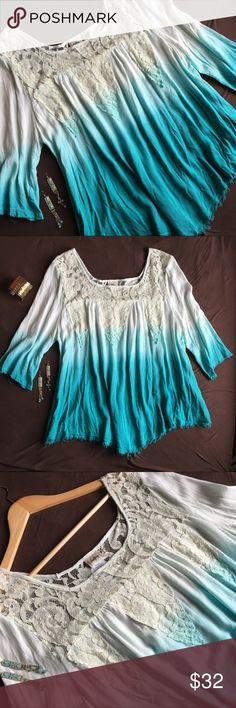 Daytrip Boho Dip-Dye Ombré Fringed Top NWT  Beautiful Boho Daytrip Top with Dip-Dye Ombré that goes from a deep vivid Teal through a softer Turquoise to Cream Crochet Lace Illusion Square-Neckline. 3/4 Sleeves feature a fun frayed fringe as does the hem which comes to soft chevron point to form a flirty hi-lo effect. Soft and feminine. Boho chic and a little hippie. This lightweight sheer and comfortable top is fun and whimsical and sure to flatter. Like the earrings? They're Listed in my…