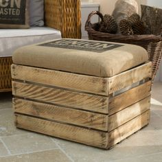 Fabulous Coffee Sack Upholstered Crate Storage Seat is upcycled and is great as both a wooden footstool and storage box, with removable padded lid.