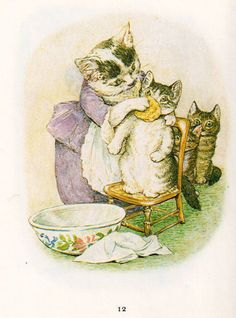 "Beatrix Potter Illustrasjoner til eventyret ""Fortellingen om Tom Kattepus"" av Beatrix Potter. Del 1 av 3 Illustrations for the fairy tale ""The Tale of Tom Kitten"" by Beatrix Potter. Beatrix Potter Illustrations, Beatrice Potter, Illustrator, Peter Rabbit And Friends, Motifs Animal, Dibujos Cute, Vintage Cat, Children's Book Illustration, Book Illustrations"