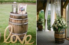 Wine barrels are a great accent for any part of your wedding. They run about $40 a piece and can be easily found at any of your local rental companies.