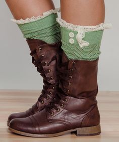 Look at this Stay Warm In Style Green Crochet Boot Cuffs on #zulily today!