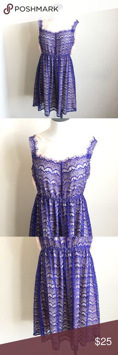 "Eyelash Lace Royal Blue Purple Nude Dress This dress is in great condition. Sleeveless. Beautiful, delicate eyelash lace. Nude lining with royal blue purple lace overlay. 75% Cotton, 25% Polyester. Juniors size Large.    Measurements taken while laying flat: 14"" Shoulder to shoulder 17.5"" Chest 34.5"" Length 14"" Waist Ya Los Angeles Dresses"