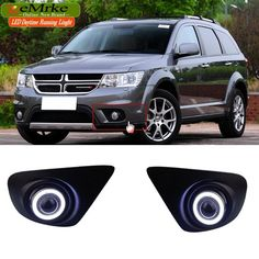 eeMrke Car Styling For Dodge Journey JC 2013 LED DRL Angel Eyes Fog Lights Daytime Running Lights Halogen Bulbs H11 55W