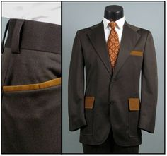 Vintage Mens Suit 1970s Brown and Tan FUNKY DISCO by jauntyrooster, $175.00
