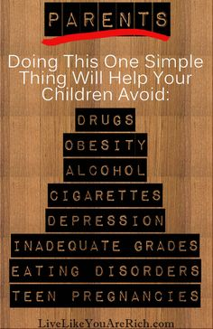 Parents: Doing This One Simple Thing Will Help Your Children Avoid Misbehaviors such as Drugs Obesity Alcohol Cigarettes Depression Inadequate Grades Eating Disorders Kids And Parenting, Parenting Hacks, Practical Parenting, Mindful Parenting, Peaceful Parenting, Parenting Plan, Just In Case, Just For You, Raising Kids