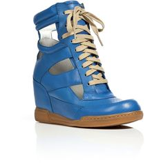 MARC BY MARC JACOBS Ocean Blue Cut-Out Wedge Sneakers ($355) ❤ liked on Polyvore