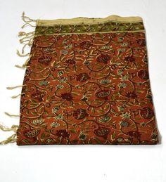 Kalamkari Dupatta - Orange from Lal10.com