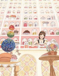 Beautiful watercolor candy shop by picture book illustrator Sandra Salsbury. Click too see it in-progress.