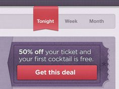 Coupon deal cleanly done on a ticket background.