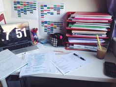 revisionrookie:  7.51pm // so far I've done 2 hours of psychology and 1 hour of biology revision today, still feels like I've done nothing so I'm doing a chem5 past paper and my messy desk with an iced coffee (kinda)