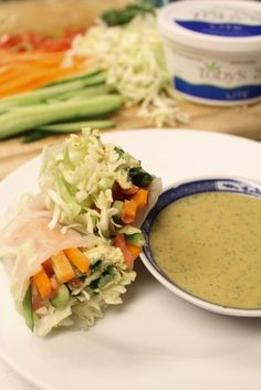 These tofu salad rolls are easy to make & impressive to serve! Made with Toby's Lite Tofu Spread. Vegan, gluten-free.
