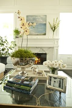 Great splash of green in this decor layout.  Simple and elegant.