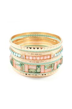Andrea Bracelet Set in Mint on Aspen