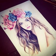 Drawn girl with flower head band