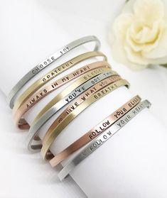 Mantra bracelet Inspiration bracelet Customize your own   Etsy Sister Bracelet, Name Bracelet, Heart Jewelry, Jewelry Box, Browns Gifts, Personalized Bracelets, Layered Bracelets, Or Rose, Rose Gold