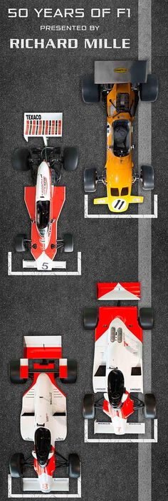 50 Years of F1, the cars. 1969 to 1984. M7C, M23, MP4/1 and the MP4/2.