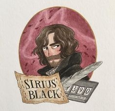 The second portrait I drew for is of Sirius Black! I wanted him to look different from the portrait I drew of him before so I added a few years on him and a beard. Arte Do Harry Potter, Harry Potter Artwork, Harry Potter Drawings, Harry James Potter, Fanart Harry Potter, Yer A Wizard Harry, Harry Potter Hermione, Harry Potter Wallpaper, Harry Potter Books