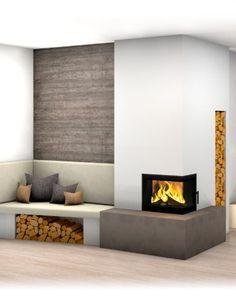 Kachelofen modern Home contemporary fireplace design Home Fireplace, Fireplace Design, Living Room With Fireplace, Living Room Modern, Modern Room, Contemporary Fireplace, Fireplace Decor, Modern Tiles, Fireplace Kits