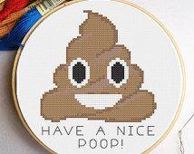 PATTERN: Poop Emoji Funny Cross Stitch Pattern - Have a nice poop!