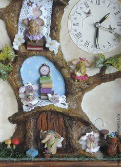 """Часы для дома ручной работы. Ярмарка Мастеров - ручная работа часы - панно """" крылатые слоники"""". Handmade."""