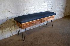 Reclaimed Wood and Raw Denim Storage Bench by RecycledBrooklyn on Etsy https://www.etsy.com/listing/161604217/reclaimed-wood-and-raw-denim-storage