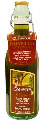 Colavita Novello Extra Virgin Olive Oil, ½ L glass