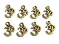 Brass Tone Yoga Meditation Om Metal Charms Beads - 10 Pie…