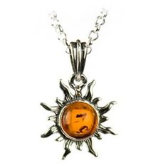 """Certified Genuine Honey Amber and Sterling Silver Flaming Sun Pendant, 18"""", (amber, sun, celtic jewelry, jewelry, necklace, celtic)"""