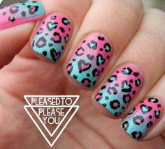 Pink and blue leopard heart nails