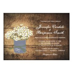 Rustic Daisies Double Hearts Wedding Invitations on distressed barn wood background.  Perfect for a country wedding.  40% OFF when you order 100+ Invites.  #wedding