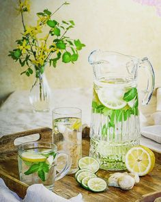 Lemon Mint Ginger Water For Weight Loss (Flat Tummy) - Skinny Over 40 Weight Loss Tea, Lose Weight, Ginger Water, Lemon Water, Fat Flush Water, Mint Lemonade, Vegan Nutrition, Water Recipes, Meat Recipes