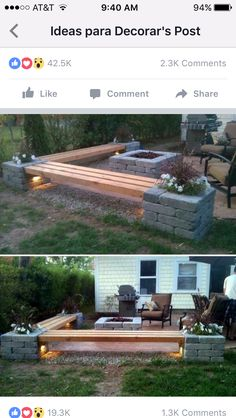 Idea for outdoor seating and fire pit! 2019 Idea for outdoor seating and fire pit! The post Idea for outdoor seating and fire pit! 2019 appeared first on Backyard Diy. Fire Pit Area, Fire Pit Backyard, Backyard Patio, Backyard Landscaping, Fire Pit Bench, Patio Bench, Backyard Seating, Garden Seating, Diy Patio