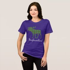Cute Tartan moose Newfoundland  shirt purple - diy cyo customize create your own personalize