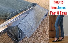 How to Hem Long Jeans Fast and Easy Tutorial (Video) | www.FabArtDIY.com
