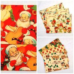 Vintage-Christmas-Wrapping-Paper-8-Sheets-Santa-Claus-Snowman-Poinsettia-Bears