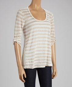 Another great find on #zulily! White & Brown Lace-Back Top - Women #zulilyfinds