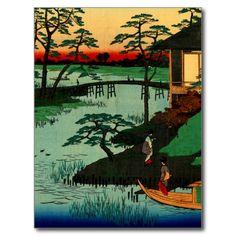 Mokubo Temple ~ Vintage Japan Ukiyo e Woodcut Art Postcard