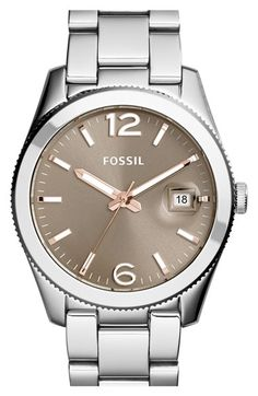 Free shipping and returns on Fossil 'Perfect Boyfriend' Round Bracelet Watch, 39mm at Nordstrom.com. A finely notched bezel pairs with a beautiful color-rich sunray dial to stylize this polished boyfriend-inspired bracelet watch.