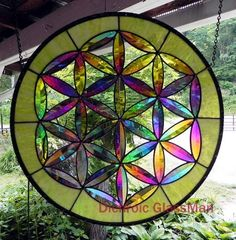 #Mandala -dichroic stained glass Seed of Life sacred geometry grn - custom order