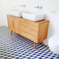 Vives tiles in bathroom. Love it! Jenson dressoir