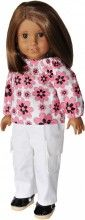 18 in Doll Clothes - Pink and Black Top with White Cargo Pants