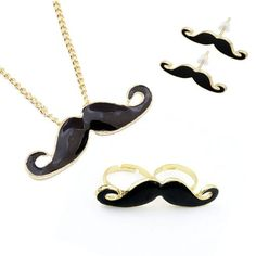 Mustache Jewelry Set - Necklace with Mustache Pendant, Mustache Earrings and Double Mustache Ring. The Retro Jewelry Set 4...