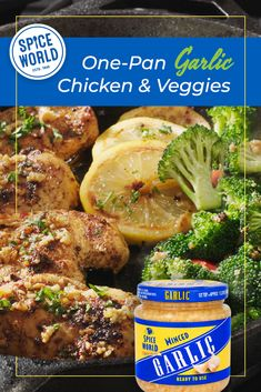Spice World Ready-to-Use Minced Garlic helps give your meal bold flavor with minimal work! Click here for the recipe for this delicious One Pan Garlic Chicken and Veggies. Garlic Butter Chicken, Broccoli Florets, Italian Seasoning, Spices, Minimal, Stuffed Peppers, Meals, Vegetables, Cooking