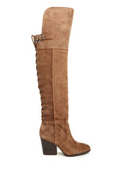 """Circus by Sam Edelman Tatum Thigh High Boots in Taupe ...these boot are Fantastic with leggings, dresses and skirts. I'm 5'5"""" and they come almost mid thigh on me."""