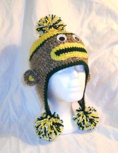 35083b7f9f607 Green Bay Packers Football Crochet Sock Monkey Hat by CDBSTUDIO, $25.00
