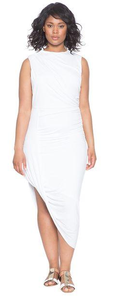 Plus Size Asymmetrical Drape Dress