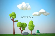 low poly trees,rocks,clouds by dumuluma on Creative Market