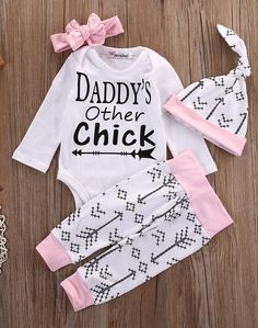 Baby girl four piece outfit. Long sleeve baby girl bodysuit. Baby girl arrow pants. Baby girl Hat. Baby girl headband. Daddy's other chick.