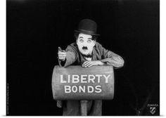 Poster Print Wall Art Print entitled Charlie Chaplin B and W The Bond, None
